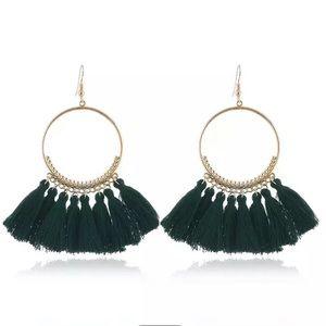Green Bohemia Drop Dangle Fringe Tassel earrings